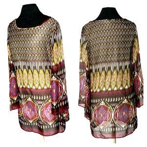 Sans Souci Women's Bell Sleeve Tunic Style 847